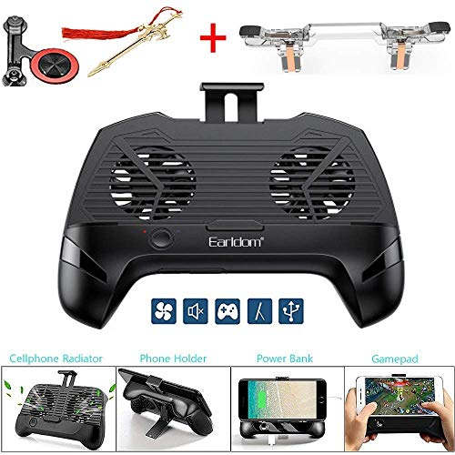 Mobile Game Controller with Radiator/Mobile Phone Holder/Cellphone Clamp/Clip Compatible for PUBG 5-in-1 Gamepad Shoot and Aim Trigger Phone Cooling Pad Power Bank for Android & iOS