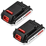 2pack Battery for Black and Decker 20v Lithium-Ion 3000mAh,Replacement 20 Volt Max LBXR20 LB20 LBX20 LBX4020 Extended Run Time Cordless Power Tools Series Battery