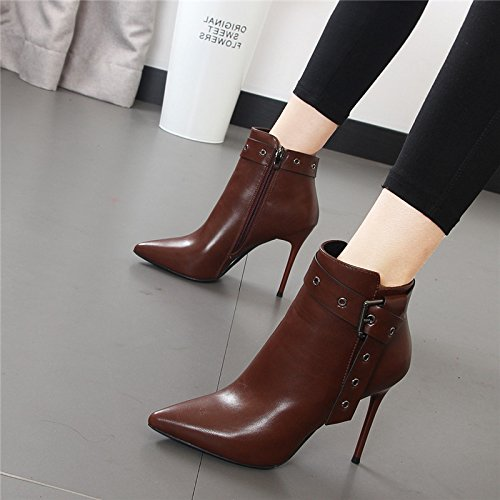 Women 2017 shoes Boots Autumn Boots Heels Naked Short Buckles And Fashionable High Sharp Martin Winter Breathable Women's Brown Short Boots Boots Fashionable Heels Buckles Fine HBDLH XxY1q5Aw1