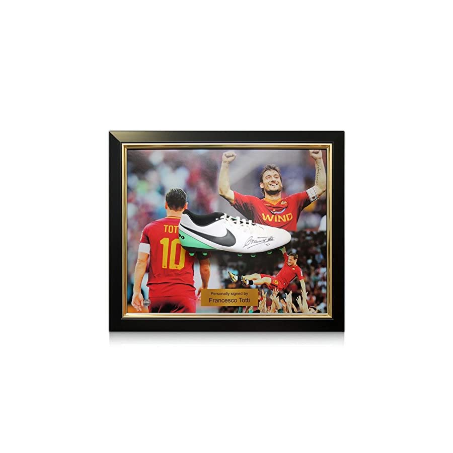 Francesco Totti Signed Football Boot Roma Presentation. In Deluxe Black Frame With Gold Inlay