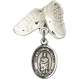 Sterling Silver Baby Badge with Our Lady of Victory Charm and Baby Boots Pin 1 X 5/8 inches