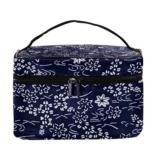 DJROW Make Up Cosmetics Pouch Bag Vintage Japanese Kimono Indigo Floral Pattern Multi function Portable Toiletry Organizer for Travel Makeup Utensils