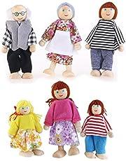 OULII 6pcs muñeca familia madera conjunto títere Maumet incluyendo abuelos para los niños divertido rol (color al azar)