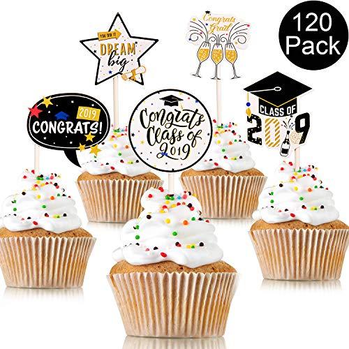 Yaomiao 120 Pieces Graduation Cupcake Toppers Graduate Food and Appetizer Decoration 2019 Cap Graduation Picks for Mini Cake, 6 Types Cake Decoration for Graduation Party Decoration Supplies ()