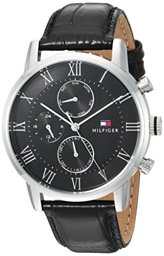 Tommy Hilfiger Men's Sophisticated Sport Stainless Steel Quartz Watch with Leather Strap, Black, 21.5 (Model: 1791401