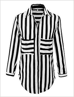 15164f73209b5 Benibos Women s White Black Striped Turn Down Collar Loose T-Shirt (M