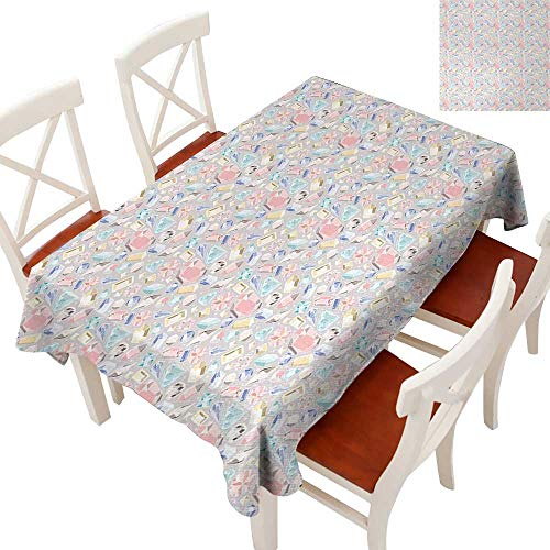 Elegant Waterproof Spillproof Polyester Fabric Table Cover Tablecloths for Rectangle/Oblong/Oval Tables Pastel Color Baguette Square and Oval Shapes Feminine Design Star Filled Backdrop Multicolor - Baguette Quartz