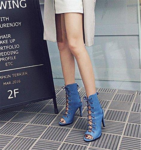 Rome à Bretelles Stiletto Club Cheville BLUE Sandales Femmes Taille creux 35 Heel Chaussures EU35 41 Party xie Velours nAX6Wq