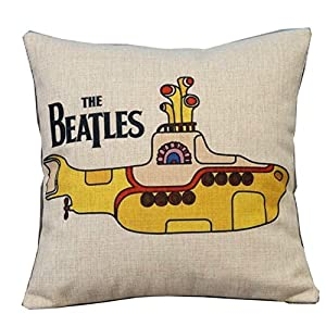 popular colourful the beatles throw pillow case decor cushion covers square 1818 inch beige cotton blend linen - Popular Throw Pillows