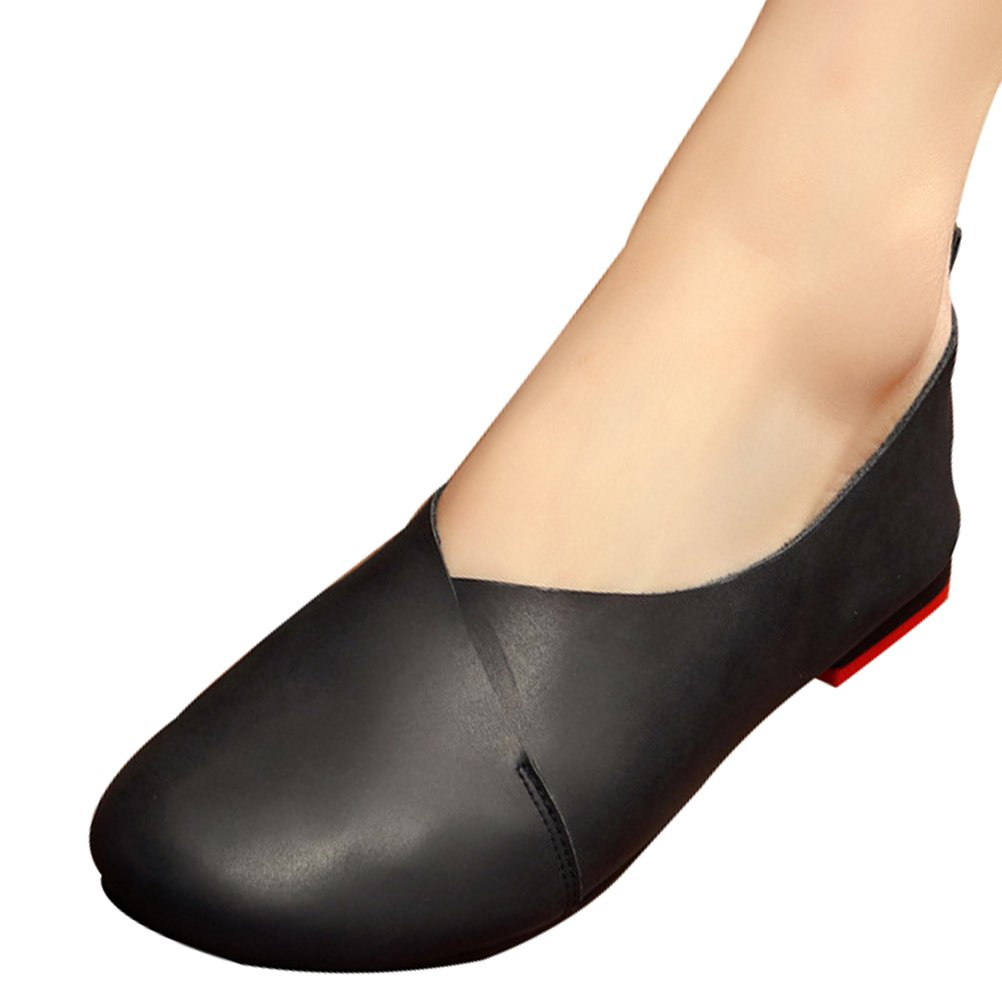 Mordenmiss Women's Cowhide Glove Shoes Ballet Flat Loafer 42 Black