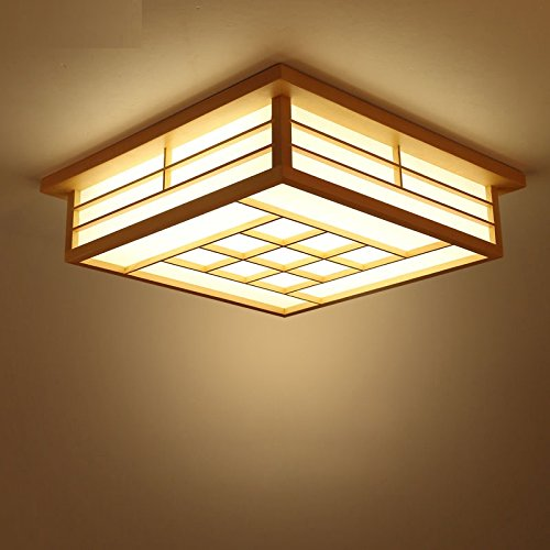MMYNL Ceiling Light Fixture Pendant Lamp for Bedroom Japanese Ceiling Lamps Led Tatami Lamps Wooden Table Lamps Pastoral Wind Lamps Remote Control Dimming Room Lamps, 45CM