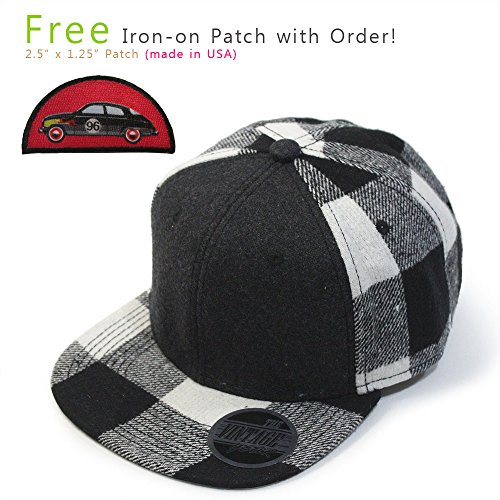 VintageYear Premium Wool Blend Plaid Adjustable Snapback Baseball Cap (Heather Black/Black 96 (Plaid Vintage Hat)