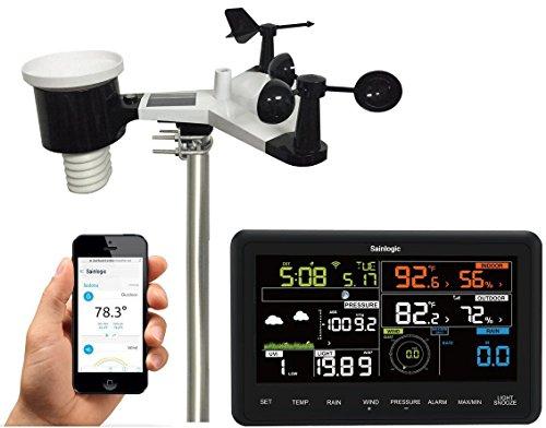 Sainlogic Professionelle Funk Wetterstation - 10 in 1 Wi-Fi Internet Wetterstation mit Farbdisplay, Kompatibel mit Alexa