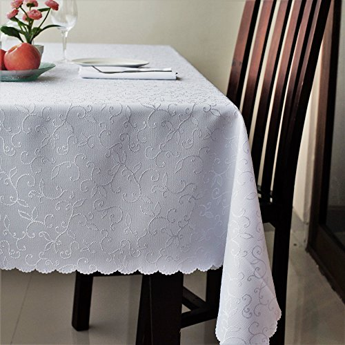 "51wcpBL1wrL - Stain Resistant Turkish White Tablecloth Polyester Table Linen, Rectangle, Square, Round, Washes Easily, Non Iron - Thanksgiving, Christmas, Dinner, Wedding, Easter (WHITE, Rectangular 60""x120"")"