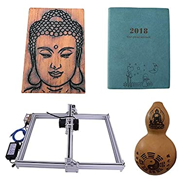 DIY CNC Laser Engraver Kits Wood Carving Engraving Cutting Machine Desktop Printer Logo Picture Marking, 40x50cm,2 Axis