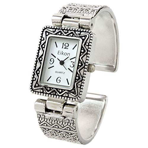 Silver Metal Western Style Decorated Rectangle Face Women's Bangle Cuff - Bangle Western Watch Style