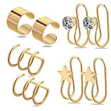 Ear Cuff,Valloey 4 Pairs 16G Stainless Steel Non Piercing Zircon Cartilage Helix Hoop Earring Ear Clips