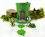 Clever Home Fairy Garden Sets in Resin with Fine Detailing (Luck of The Irish Set with 2 Fairies, LED Light Leprechaun Hat House and Step Stones)