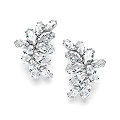 Make an unforgettable grand entrance wearing Mariell's brilliant Cubic Zirconia cluster earrings featuring dozens of glistening prong-set marquis-cut Zirconium gems. With a graceful curved silhouette, these best-selling CZ earrings beautifull...