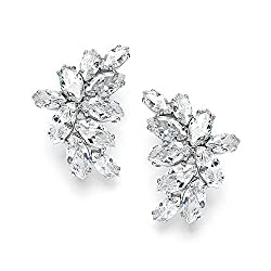 Cubic Zirconia Marquis-Cut Curved Cluster Platinum Plated Earrings