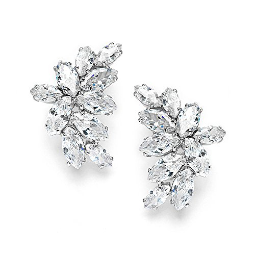 Cluster Jewelry - Mariell Cubic Zirconia Marquis-Cut Graceful Curved Cluster Bridal Wedding Earrings - Platinum Plated