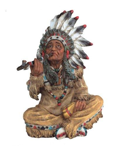"10"" Inch Sitting American Indian Statue Figure Western Figurine Warrior Indio"