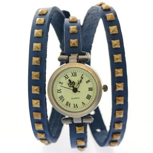 CLW Cow Leather Rusty Clavos de Cobre Azul Band Roma Números antiguos antiguos Relojes clásico