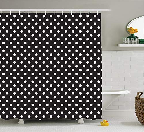(Ambesonne Dots Shower Curtain, Classical Pattern of White Polka Dots on Black Traditional Vintage Design, Cloth Fabric Bathroom Decor Set with Hooks, 70 Inches, Charcoal White)