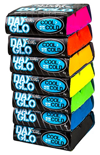 Sticky Bumps Cool-Cold Day Glo Surfboard Wax Assorted 7 Pack by Sticky Bumps