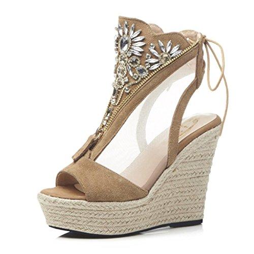 Zapatos Sandalias Cuña De Caqui Outlet Plataforma Cómodos Color nvNw0m8