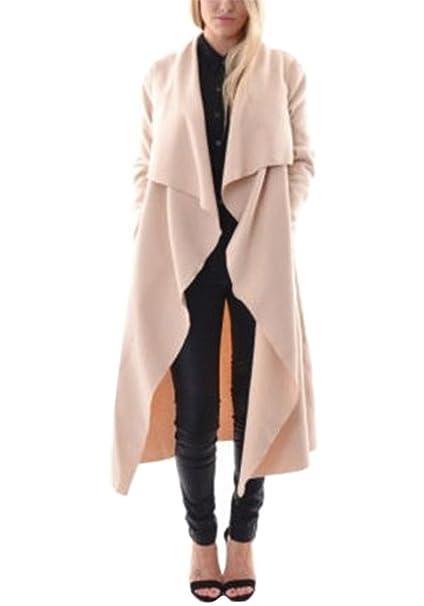 Minetom Primavera Otoño Elegante Abrigo Largo Para Mujer Moda Manga Larga Color Sólido Chaqueta Outerwear Cárdigan Trench Coat: Amazon.es: Ropa y accesorios