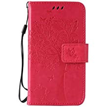 """Galaxy Core LTE/Core 4G(4.5"""")case,G386(2014)case,Bujing Rose Embossed Cat&Tree Design Card Slot Stand Wallet Case Only For Samsung Galaxy Core LTE/Core 4G(4.5"""")(2014)"""