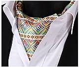 SetSense Men's Plaid Jacquard Woven Self Cravat Tie Ascot One Size Green / Yellow / Blue