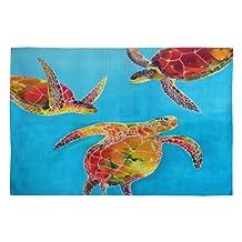 DENY Designs Clara Nilles Tie Dye Sea Turtles Woven Rug, 4 by 6-Feet