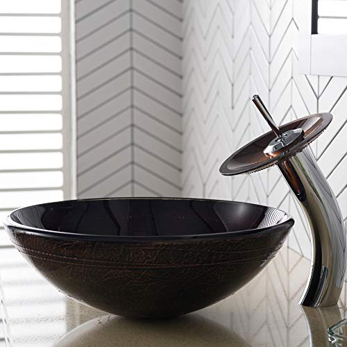 Kraus C-GV-580-12mm-10CH Copper Illusion Glass Vessel Sink and Waterfall Faucet Chrome