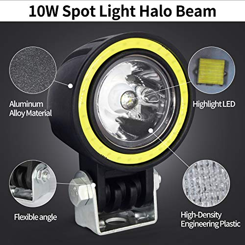 automotive, lights & lighting accessories, accent & off road lighting,  light bars  discount, Motorcycle LED Fog Lights,20W Driving Spot Lights Round Cree LED Offroad Motorcycle Bike Lights with Halo Ring for Truck Car ATV Jeep promotion4