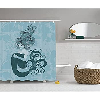 Mermaid Decor Shower Curtain Set By Ambesonne, Sleeping Mermaid Design With  Hand Drawn Effect,