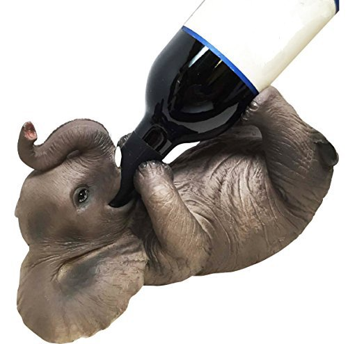 KITCHEN DECOR GIFT PLAYFUL SAFARI ELEPHANT OIL WINE BOTTLE HOLDER FIGURINE (Sculpture Wine Bottle)