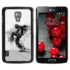 QCASE / LG Optimus L7 II P710 / L7X P714 / protección de la naturaleza del arte Distruction ecológica / Delgado Negro Plástico caso cubierta Shell Armor Funda Case Cover