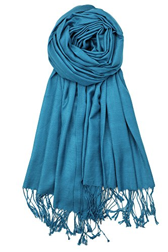 Achillea Bamboo Rayon Feel Soft Silky Pashmina Solid Shawl Wrap Scarf (Dark Turquoise)