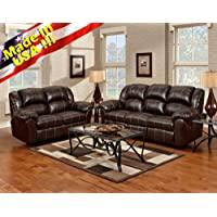 Roundhill Furniture Brandan Bonded Leather Dual Reclining Sofa and Loveseat, Brown