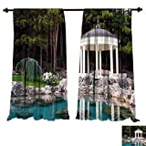 gazebo curtains diy fengruiyanjing-Home Window Curtain Fabric Landscape Gazebo by The Pond in a Beautiful Green Park Nature Forest Garden View Green Blue and White Drapes for Living Room (W96 x L84 -Inch 2 Panels)