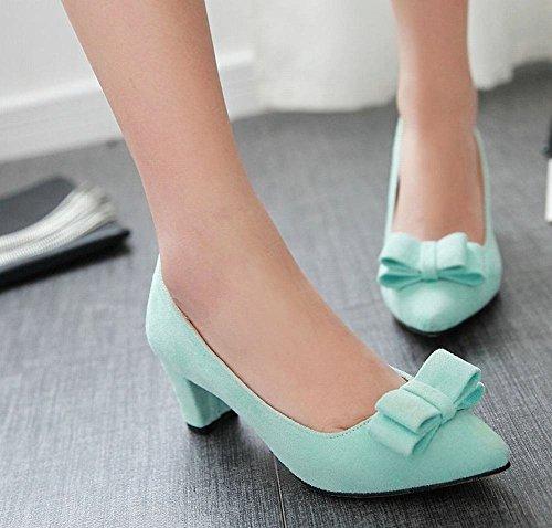 Mee Shoes Damen modern süß bequem spitz mit Schleife Nubukleder dicker Absatz Geschlossen Pumps Blau