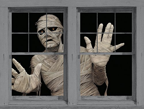 Window Poster Halloween Menacing Mummy by WOWindows USA-made Decoration Includes 2 Reusable 34.5