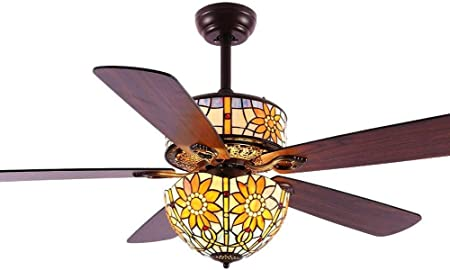 Agriturismo lámpara Ventilador de Techo con luz, Mando a Distancia ...