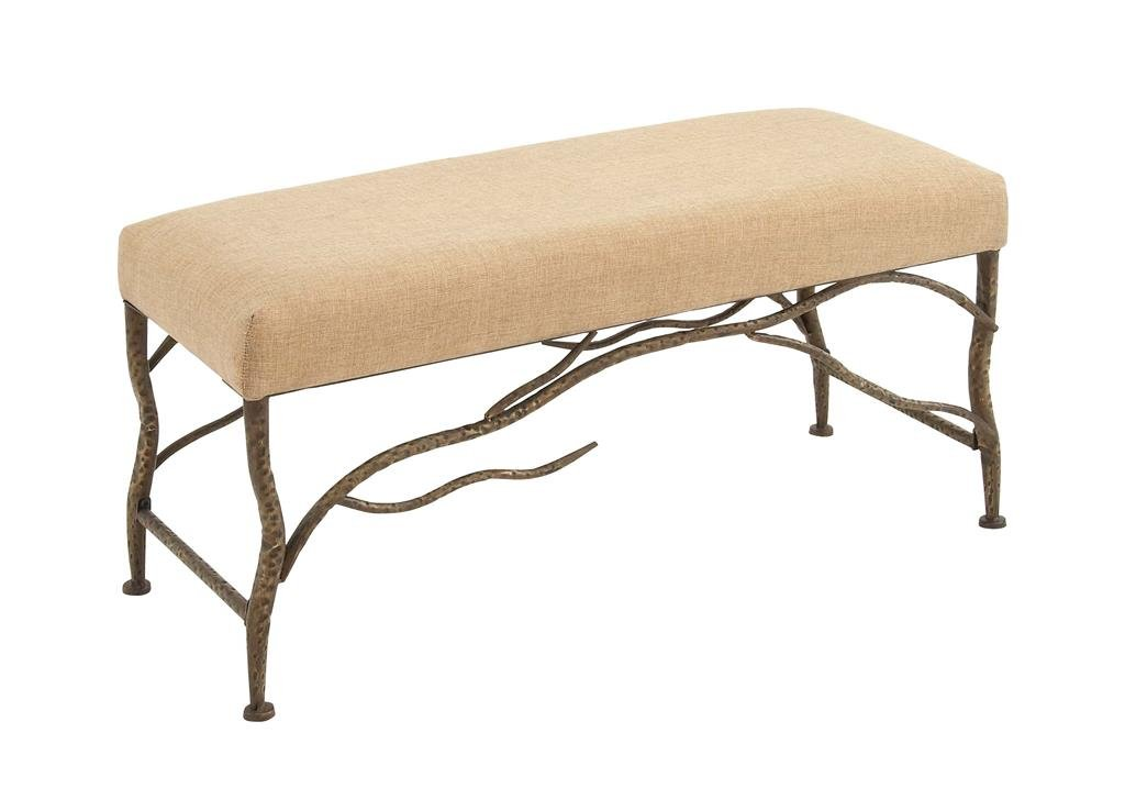 "Deco 79 54329 Eclectic Beige Cushion Bench Bronze Tree Branch Metal Frame, 42"" x 20"""