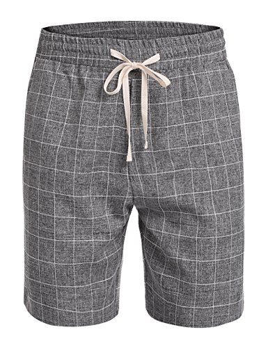 Cheap COOFANDY Men Classic-Fit Plaid Flat Front Casual Shorts Elastic Mid Waist for cheap