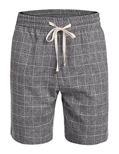 Coofandy Men Classic-Fit Plaid Flat Front Casual Shorts Elastic Mid Waist,Dark Gray,34