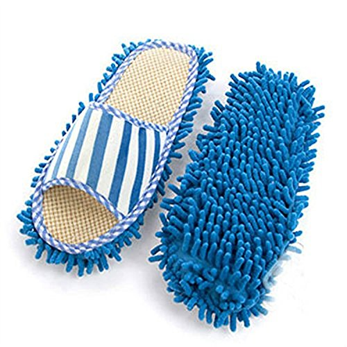 Generic House Floor Polishing Dusting Cleaning Feet Socks Shoes Mop Slippers Purple Blue