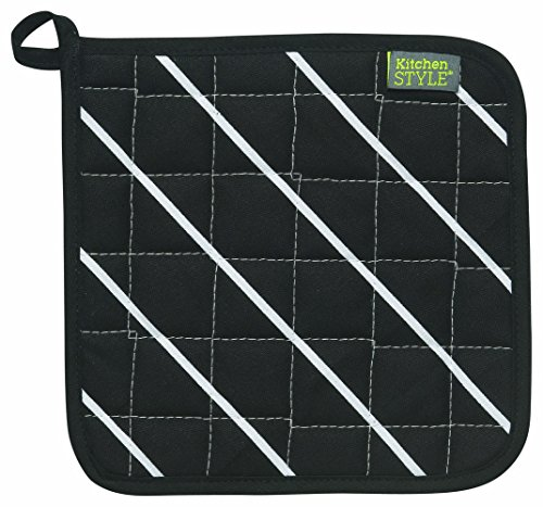 Kitchen Style by Now Designs Potholders, Butcher Stripe Black, Set of 2 by Now Designs